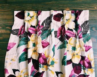1940's Barkcloth Floral Print Curtain Panel
