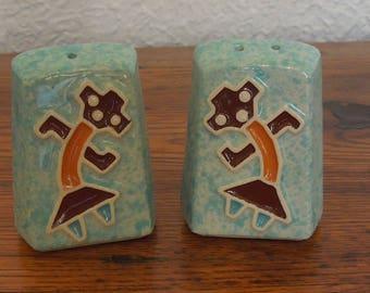Vintage Hopi Kachina Design Salt & Pepper Shakers Teal  Turquoise Ceramic 60's