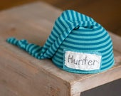 Name Hat, Personalized Newborn Hat, Newborn Name Hat, Blue Striped Newborn Hat, Newborn Coming Home Outfit, Newborn Boy Hat, Newborn Prop