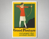 Good Posture and Proper Diet Promote Health Vintage Poster - Poster Paper, Sticker or Canvas Print / Gift Idea