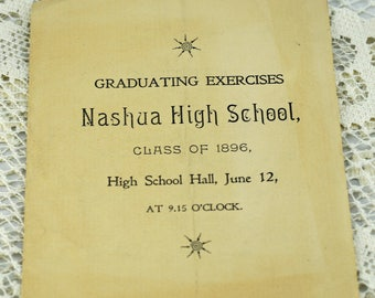 NASHUA New Hampshire, 1896 High School Graduation Program  #408 AW