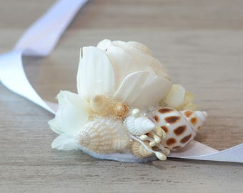 Wrist Corsage  Beach Wedding Wrist Corsage Mermaid Corsage Seashells Corsage Sola flower Tropical Destination Wedding Mother of Bride bridal