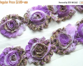 "Summer SALE 10% OFF 2.5"" PRINT Shabby Rose Trim- Lavender Floral - Chiffon Trim - Purple Shabby Trim - Printed Shabby Trim -Hair Acessories"