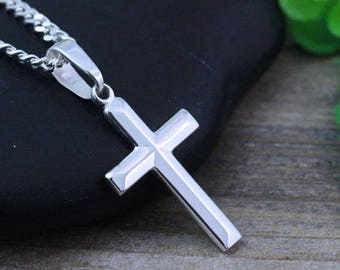 Sterling silver Cross Necklace, Small Cross,  cross Pendant Necklace, choose Italian chain. Cross Jewelry. R-5141