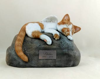 Ceramic Engraved Painted Bottom Loading Cat Cremation Urn with Plastic Name Plate - hand made pet urn