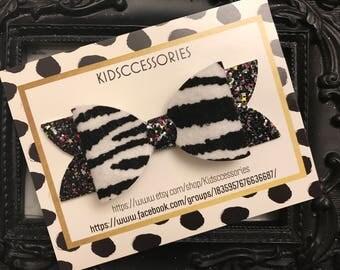 """4.5"""" zebra bow"""