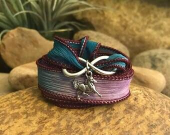 Infinity Horse silk ribbon wrap bracelet