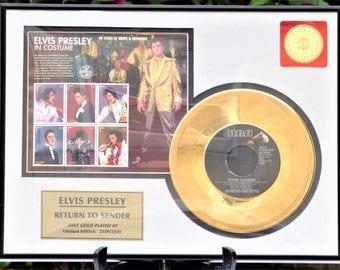 "1996 Framed Elvis Presley ""Return To Sender"" 24KT Gold Plated 45 Record Limited Edition #2109/ Gold Plated Record/ Elvis Stamps"