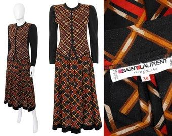 Yves Saint Laurent YSL 1970s Vintage Suit Maxi Skirt Ribbed Knit Sweater Cardigan Black US Size 4 XS