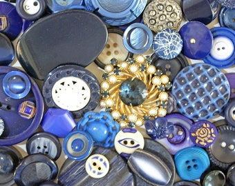 Midnight Blues*Vintage Blue Button Lot*Navy and Royal Blue Button Pack*66 Buttons
