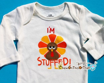 I'm Stuffed Personalised First Thanksgiving Statement Onesie, Bodysuit, Top, Outfit, Shirt