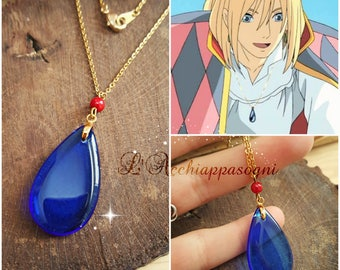 Howl's Moving Castle Inspired - Studio Ghibli - Howl's Moving Castle Necklace - Howl Cosplay - glass blue stone - 18k gold plated chain