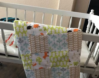Baby Forest Animals Flannel Quilt