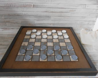 Handmade Wooden Checkerboard-Gray and  White Wood Checkerboard-Checkerboard Game-Checkerboard Wall Art-Checkered Game Board