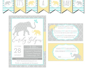 Digital Neutral Ocean Elephants Nautical Baby Shower Decorations Package Banner, Games, Diaper Raffle, Cupcake Toppers, Water Labels  CPP009