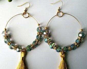 Bead Earrings, Blue-Green and Gold, Hoop Earrings