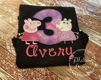 Peppa Pig & Suzy Sheep Birthday - Embroidered Birthday Shirt - Customizable -  Infant to Youth 340