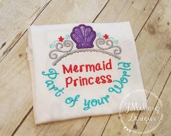 Little Mermaid Princess Inspired Monogram Tiara with Phrase - Princess Movie - Custom Tee 2041A