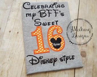 Disney-Inspired Birthday Shirt - Sweet 16 BFF boy - Custom Birthday Tee 802c orange