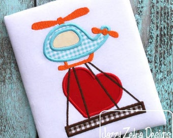 Valentines Helicopter - Boy's custom Valentine shirt