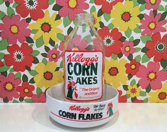 Vintage Kellogg's Corn Flakes Milk Bottle and Corn Flakes Breakfast Bowl