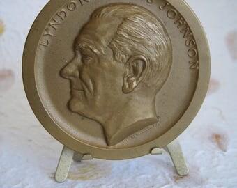 Lyndon Baines Johnson Inaugural Souvenir Medal with Stand, 1964