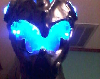 cosplay helmet, batman armor, costume armor, batman suit, lighted helmet, steampunk, batman cowl, batman mask, cosplay mask, cosplay