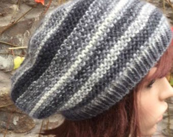 Slouchy Hat Hand Knitted Merino Wool Slouchy Hat in Greys