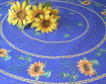 "70"" diameter Round tablecloth.CHOOSE theFABRIC : 100% cotton OR oilcloth. Fabric from Provence, France. Sunflowers in blue"