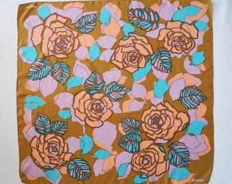 Vintage 60s caramel and pastel colour floral rose print silk scarf