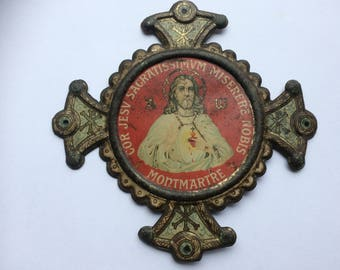 Old tin-plate Ex voto Sacré coeur, Montmartre, French religious plaque,Sacred Heart of Jesus plaque
