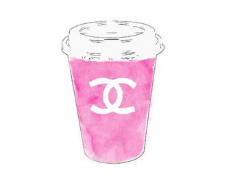 DIGITAL ART PRINT Pink Espresso Coffee Cup Chanel Watercolor Painting, Fashion Illustration, Wall Home Decor