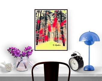 Red digital line art, digital print, tree  art, minimalist art, abstract art, line art, tall tall trees,ski trail, red yellow art,tree photo