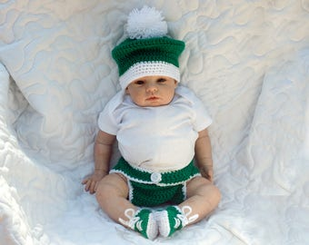 BABY GOLF HAT, Golf Diaper Cover, Baby Golf Outfit, Crochet Baby Golf, Baby Boy Golf, Golf Photo Prop, Knit Baby Golf Hat, Baby Golf Green