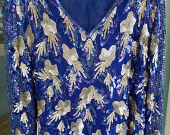 1980s Royal Blue Silver Sequins party Blouse w Skirt to Fix