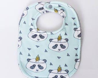 "0-6 months baby bib grey pale green Indian pattern ""PANDA"" and sponge"