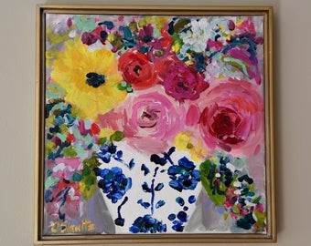 """Floral Still Life, Blue and White Ginger Jar Painting, SMALL Framed Flower painting, Abstract Flowers in Ginger Jar  13"""" x 13"""" """"Ella"""""""