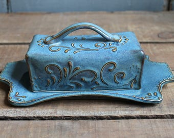 Butter Dish, Tidal Pool Blue, handmade ceramic, lidded, Mothers Day gift, present, IN STOCK, ready to ship