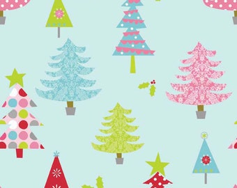 Christmas Fabric/Blue, Pink, Red Trees on Blue or Green/Cotton Sewing Material/Quilting, Craft/Fat Quarter, Half, or By The Yard, Yardage
