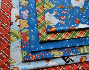 Christmas Fabric Bundle/Snowmen, Cookies, Candy Cane, Snowflakes/Royal Blue, White, Light Blue, Red and Green Plaid/Cotton Sewing Material