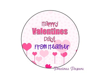 Personalized heart Valentines Day stickers, Heart stickers, kids heart stickers, valentines labels