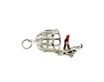 Sterling Silver Best Opening Parrot In Cage Charm For Bracelets