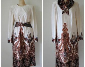 Sale Vintage Paisley Print Dress / 1970s Modest Office Day Dress / Jon Michaels Dress / Secretary Power Dress / Ethnic Dress M/L
