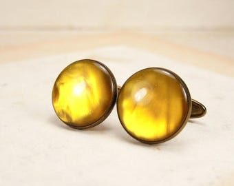ON SALE Vintage Brass Round Cufflinks with yellow cabochon.