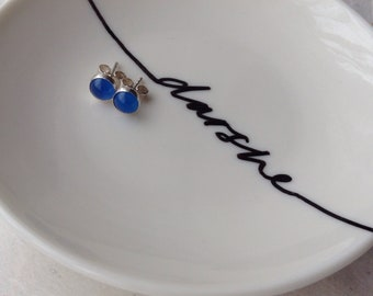 Blue Agate Studs, Blue Agate Earrings, Blue Earrings, Blue Studs, Blue Agate stud earrings, Blue Agate, Sterling Silver Studs, Silver Studs