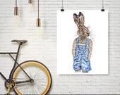 Bunny & overalls  (Print) Bunny print, Bunny illustration, animal print, Bunny decor, animal decor, Bunny painting, Bunny art, rabbit art