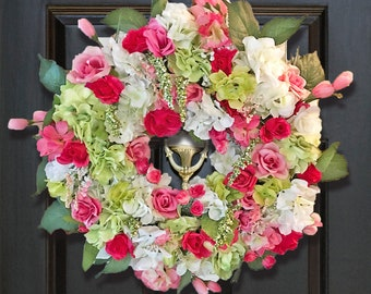 Spring Wreath, Spring Floral Wreath, Flower Door Wreath, Pink Wreaths, Door Wreaths,  Floral Wreath for Front Door