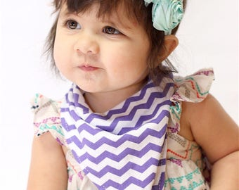 Baby Bandana Bib - Baby Bandana - Drool Bib - Baby Bibdana in Purple Chevron - NO SNAPS