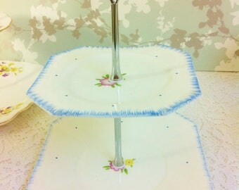 C W S Windsor China Art Deco Two Tier Cake Stand
