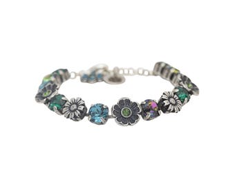 Swarovski Tennis Bracelet Floral Green Blue, Swarovski Crystal Bracelet, Blue and Green Crystal Bracelet, Blue and Green Tennis Bracelet